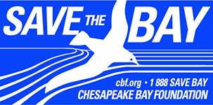 CBF bumper sticker with gull and Save the Bay